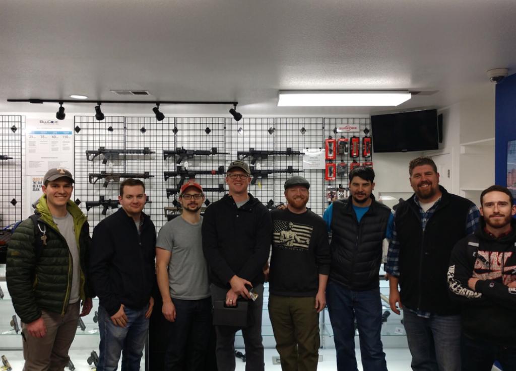 Men in ammunition shop.