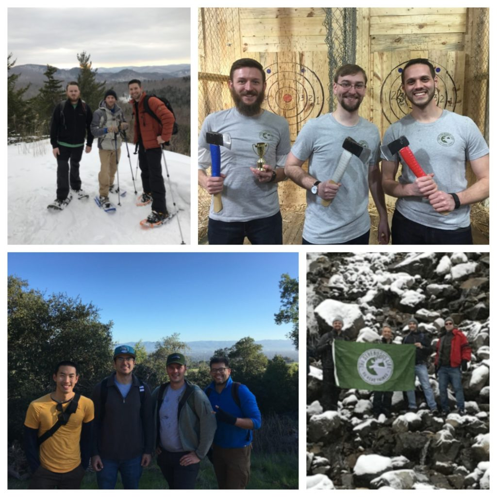 Group of people at different venues for hiking.