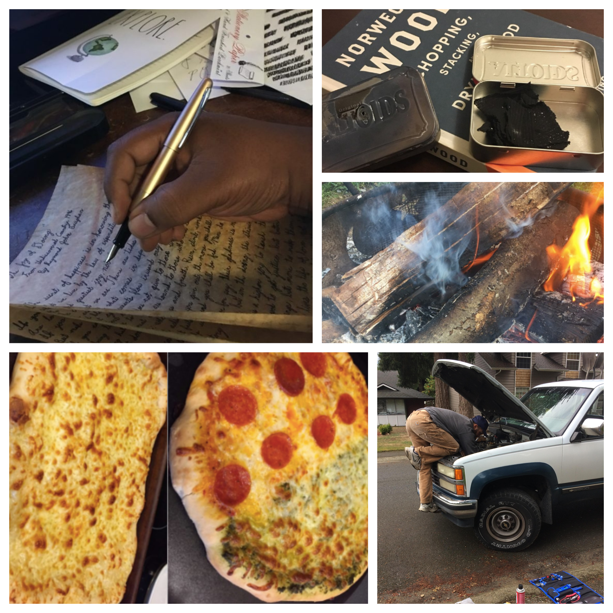 Collection of pizza, man fixing his car, woods on fire, man writing on a paper and a metal box with a black material displayed.