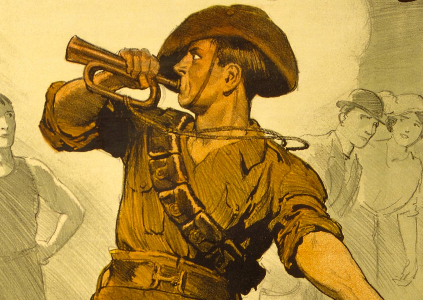 Vintage man blowing trumpet.