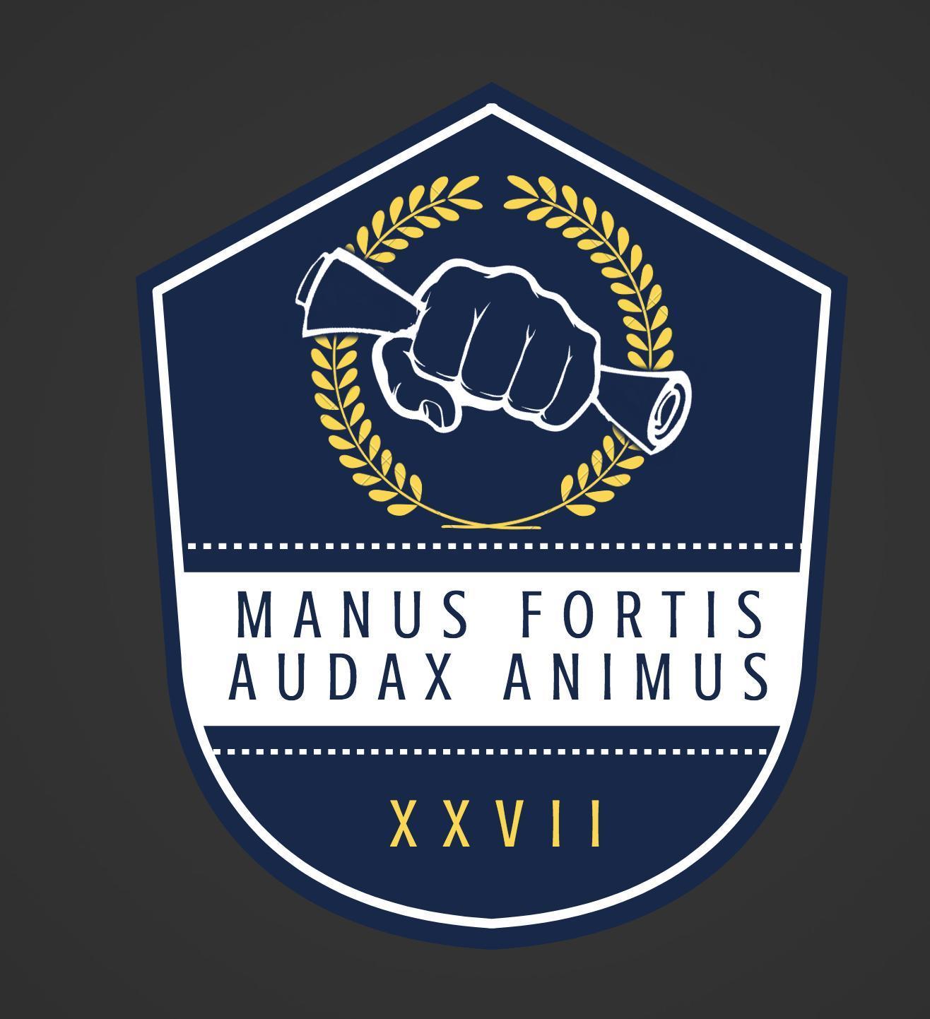 """Logo of """"Manus Fortis Audax Animus"""" being displayed."""