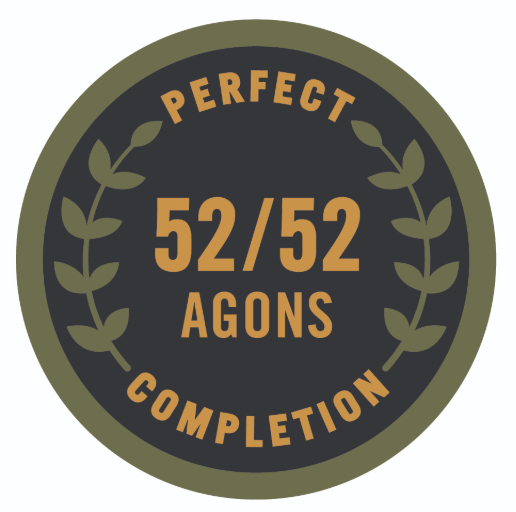 """Logo of """"Perfect 52/52 Agons Completion"""" displayed."""