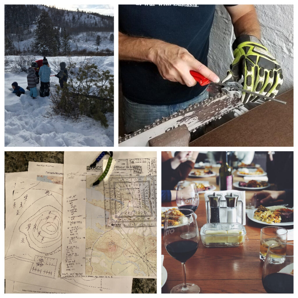 Man sharpened his chainsaw and cut down his own Christmas tree, prepared food for the hosts and a map.